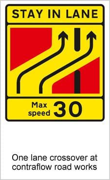 UK Road Signs One Lane Crossover at Contraflow Road Works