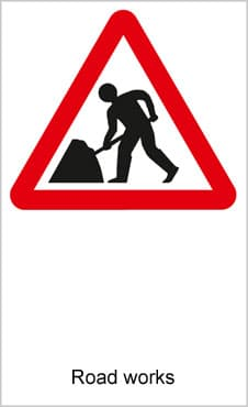 UK Road Signs Road Works