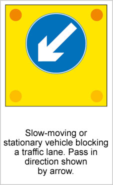 UK Road Signs Slow Moving or Stationery Vehicle