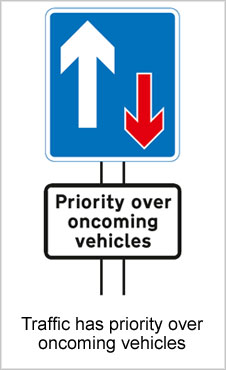UK Road Signs Traffic has Priority Over Oncoming Vehicles